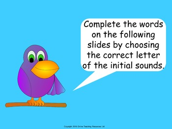 Initial Sounds - PowerPoint and worksheets