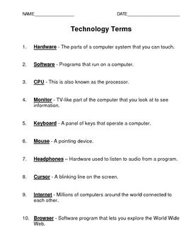 English Technology Terms (K-4)