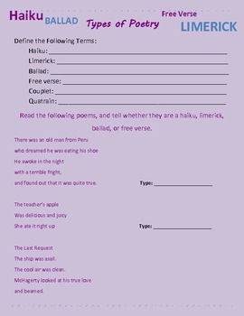 English Terms/Literary Elements Practice Worksheets