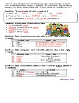 English Test: Common and Proper Nouns