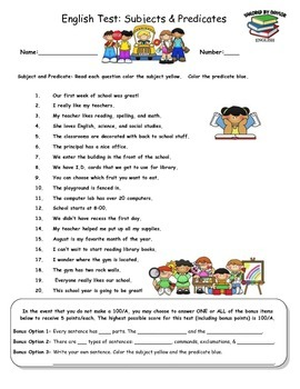 English Test: Subjects and Predicates