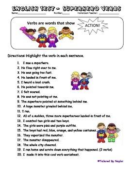 English Test: Superhero Verbs