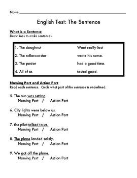 English Test: The Sentence