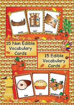 English Thanksgiving Edible Non Edible Vocabulary Cards