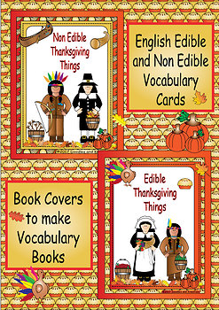 English Thanksgiving Edible Non Edible Vocabulary Cards