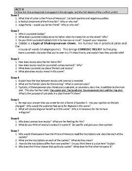 English - The Merchant of Venice - Scene Questions