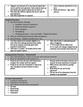 English To Algebra Lesson Plan
