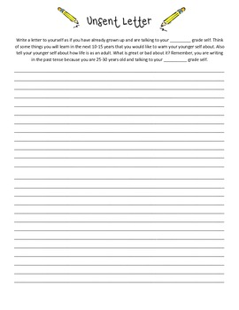 (English) Unsent Letter Writing Assignment