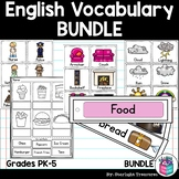 English Vocabulary Bundle: Flash Cards, Label the Picture Worksheet, & Word Wall