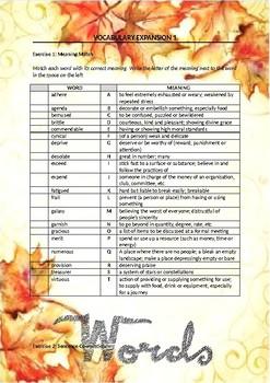 English Vocabulary Expansion worksheets