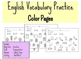 English Vocabulary Practice Color Pages