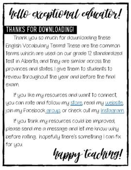 English Vocabulary Terms