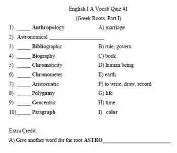 English Vocabulary Word Parts Quizzes