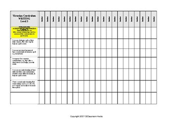English WRITING Checklist Level 3 Victorian Curriculum/Australian Curric 'I Can'
