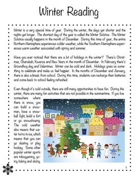 English Winter Unit Plan - Reading Comprehension, Sequencing, Classifying etc..