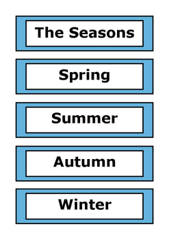 English Word Wall - Days of the Week, Months of the Year, Seasons