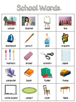 English Word Wall- School Words