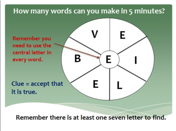 English - Word Wheels Warm Up Game 7 Letters