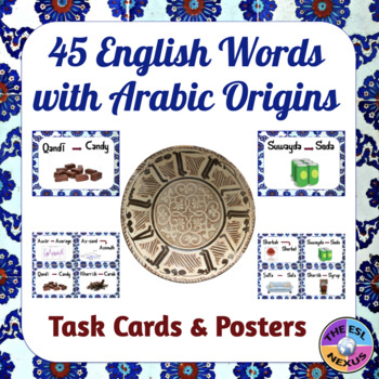 English Words with Arabic Roots: Posters & Task Cards for 45 Words