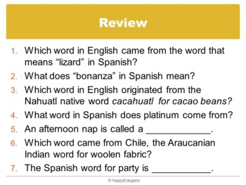 English Words That Come From Spanish PowerPoint