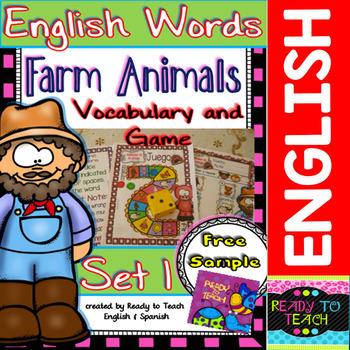 English Words - Vocabulary and Game - (Farm Animals) - Set 1 FREE