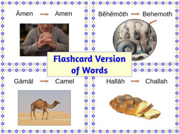 English Words from Hebrew Sampler: Posters & Flashcards for 4 Words