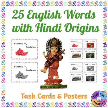 English Words with Hindi Roots: Posters & Flashcards for 25 Words