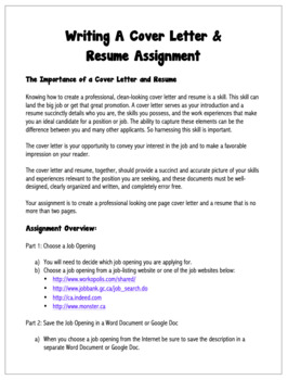 English: Writing A Cover Letter Grades 6 - 12
