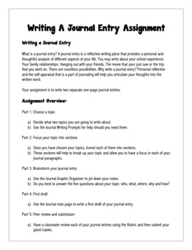 English: Writing A Journal Entry Grades 6 - 12