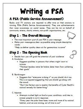 English: Writing A Public Service Announcement (PSA) Grades 6 - 12