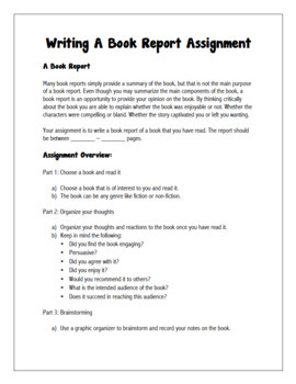 English: Writing A Book Report Grades 6 - 12