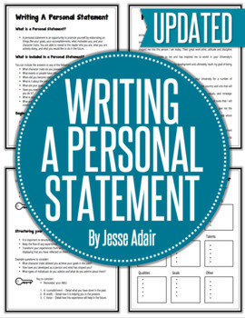 English: Writing A Personal Statement Grades 6 - 12