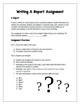 English: Writing A Report Grades 6 - 12