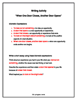 "English Writing Activity: ""When One Door Closes, Another D"