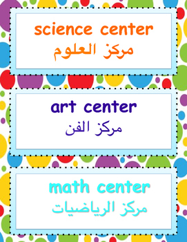 English and Arabic Labels for Learning Centers