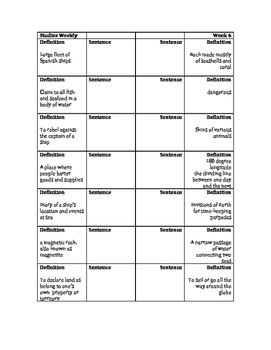 English and French Explorers Vocabulary Foldable: Studies Weekly 6