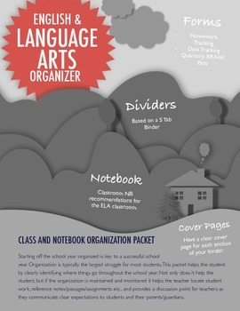 English and Language Arts: Binder & Writer's Notebook Organization Packet