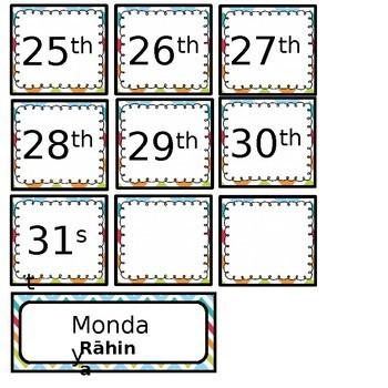 FREE! English and Māori Calendar Set