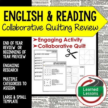 English and Reading Collaborative Quilt, Classroom Display, Collaborative Poster