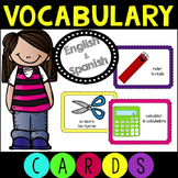 English and Spanish Back to School Vocabulary Cards