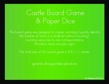 English and Spanish Castle Board Game and Paper Dice Pattern