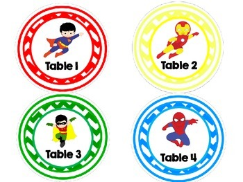 English and Spanish Chevron Table Signs -Superhero Themed