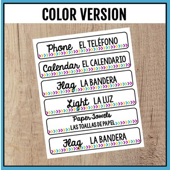 English and Spanish Classroom Labels for ELL
