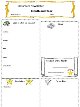 English and Spanish Classroom Newsletter