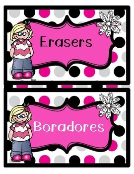 English and Spanish Classroom Supplies Labels