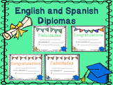 English and Spanish Color Diplomas