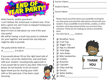 End of the Year Class Party Parent Letter, English and Spanish Bilingual Letter