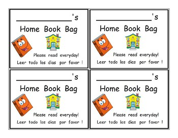 English and Spanish Home Book Bag Labels