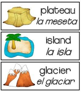 English and Spanish Landform Word Wall Card FREEBIE