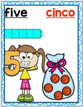 English and Spanish Number Posters #'s1-20